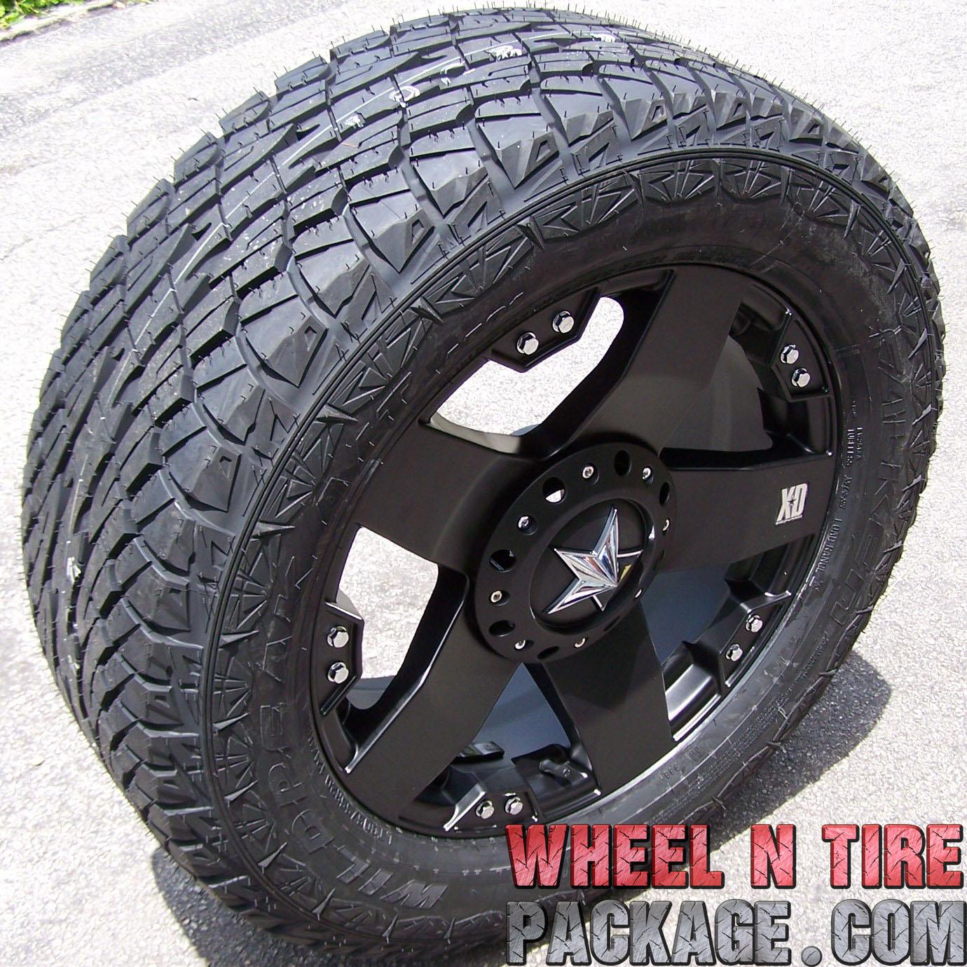 "20"" Black Rockstar Wheels Falken Wild Peak at Tires Chevy Silverado Sierra Tahoe"