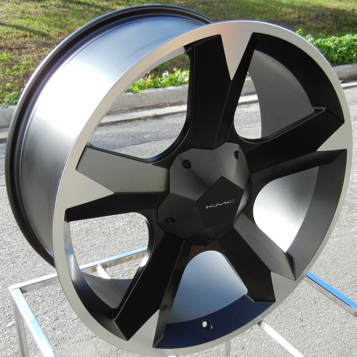 22 Black KMC Clone Wheels Rims Escalade Avalanche Sierra Ford