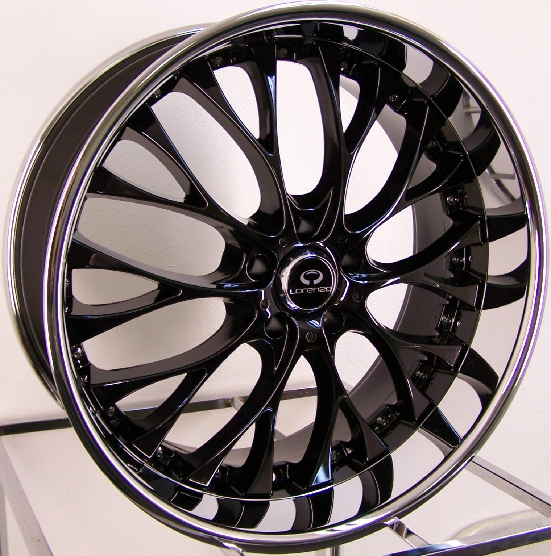 19 Black Chrome Staggered Lorenzo WL27 Wheels Rim BMW Z4 325 328 330