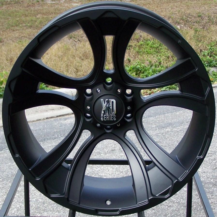 22x11 6LUG Black KMC XD Crank Wheels Rim Lifted Chevy Silverado GMC