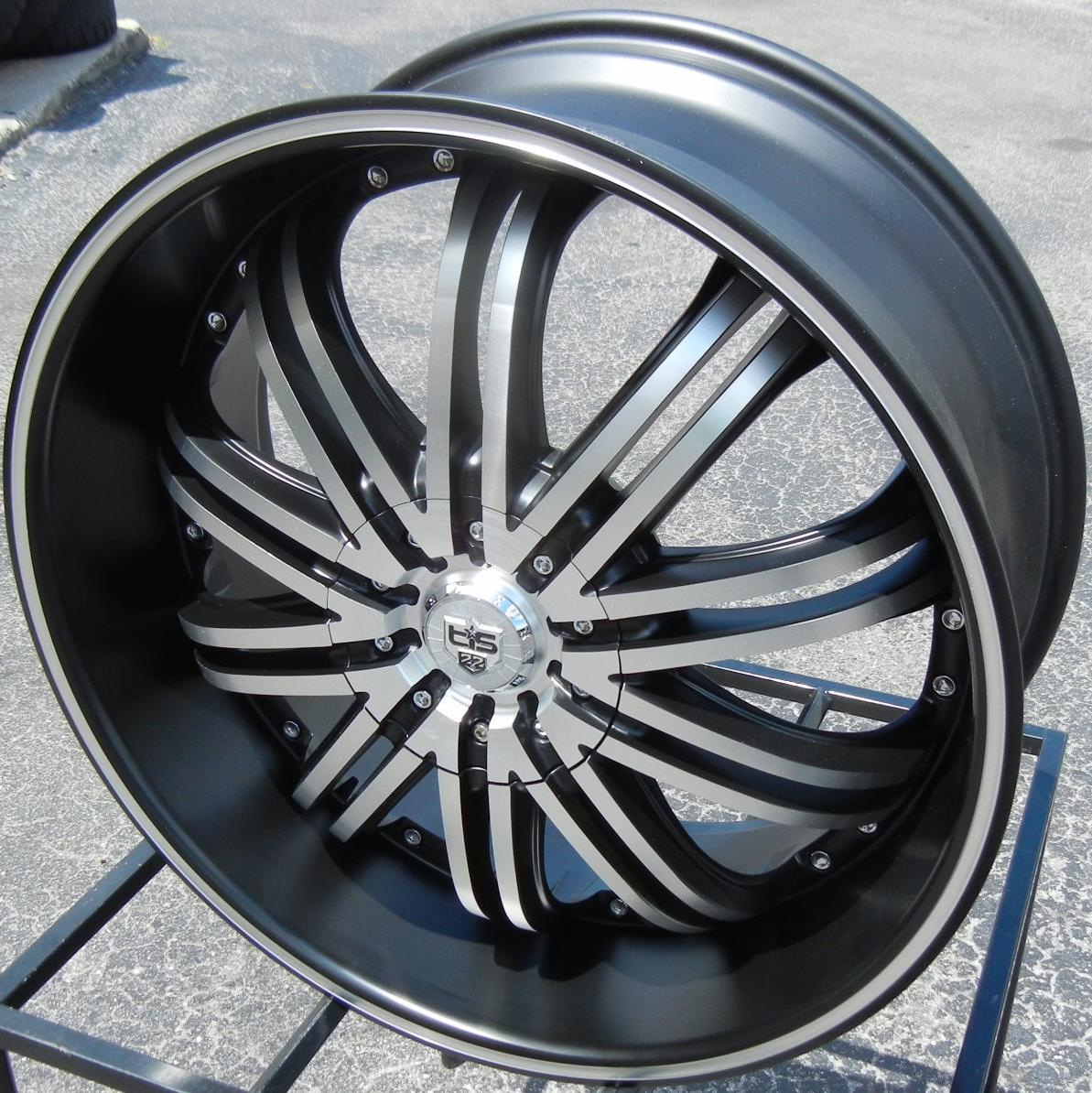 "22"" Black Tis 532 Wheels Rims Dodge RAM 1500 Dakota Durango 4x4 Chrysler Aspen"
