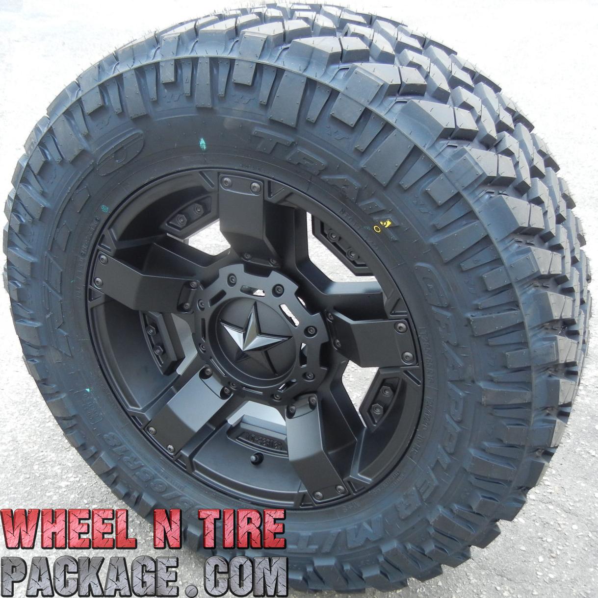 "20"" Black Rockstar 2 Wheels Rims Nitto 35"" Trail Grappler Tundra Dodge RAM 1500"